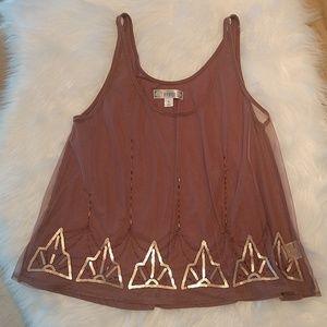 Decree Sheer Sequin Crop Top XL